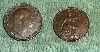 RFM 58377 World Coins Great Britain 1902 Farthing VF Condition. From a collectio