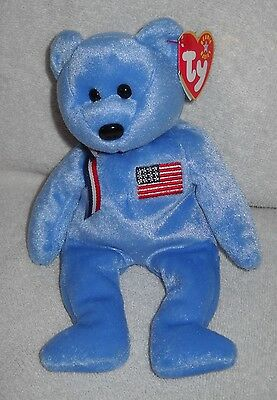 #9505 NWT RETIRED Ty 2001 AMERICA the Bear Beanie Baby Plush