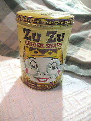 1982 Zu Zu Ginger Snaps Advertising Cookie Tin National Biscuit Circus -Vintage