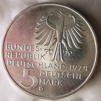 1974 D GERMANY 5 MARKS - AU/UNC Low Mintage Silver Crown Coin - Lot #N21
