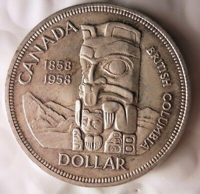 1958 CANADA DOLLAR - TOTEM POLE - Excellent Silver Crown Coin - Lot #N21