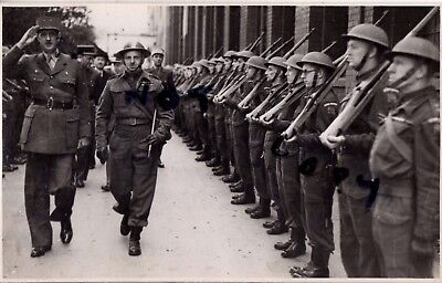 WW2  Charles De Gaulle inspecting Home Guard Unit Officer has RFC wings