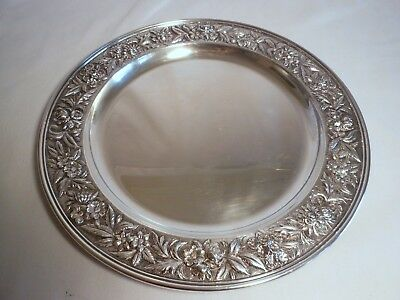 S. Kirk & Son sterling silver repousse serving tray platter 2314F 900 grams BIG