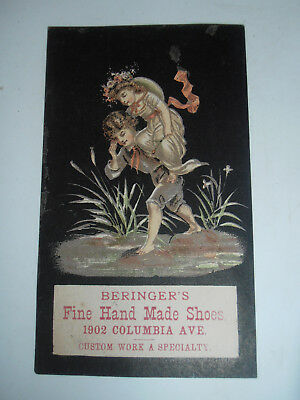 1800's Beringer's Hand Made Shoes Trade Card