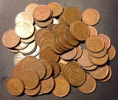 Vintage Norway Coin Lot - 1952-1957 - 2 ORE - 80+ Coins - Great Group - Lot #N21