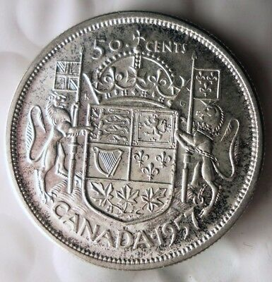 1957 CANADA 50 CENTS - AU - Excellent Silver Crown Coin - Lot #N21