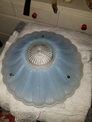 Vintage Antique Art Deco Frosted Blue Glass Ceiling Light fixture