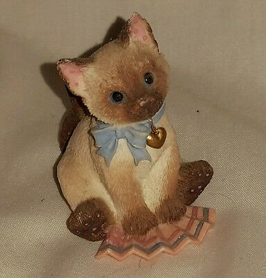 Enesco CALICO KITTENS Siamese Glass figurine Cat figure kitty