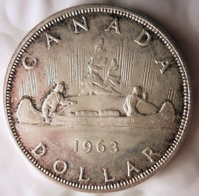 1963 CANADA DOLLAR - RARE DATE - Excellent Silver Crown Coin - Lot #N21