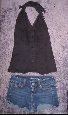 2 lot short american eagle outfitters and halter black top ruffle 21