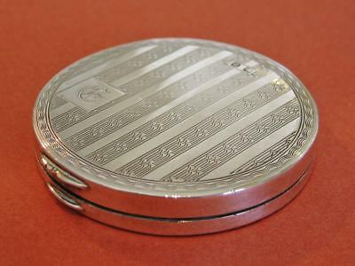 H.T.H & Co Sterling Silver compact, Birmingham 1926, monogramed E. Hallmarked.