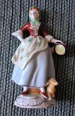 """Vintage Maid / Woman / Girl with Dog 5"""" Ceramic Figurine Made in Occupied Japan"""