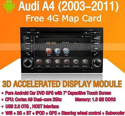 2 Din Android Car DVD Player GPS Navigation WIFI 3G Radio for Audi A4 2003-2011