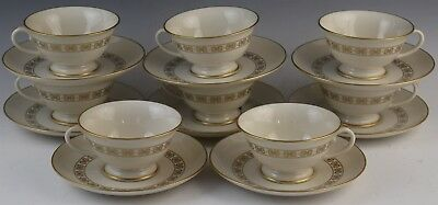 16 Pc Mid Century Franciscan Somerset China Porcelain Footed Tea Cup Saucer Set