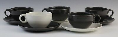 10 Piece Russel Wright Casual Iroquois White Charcoal Coffee Cup Saucer Set