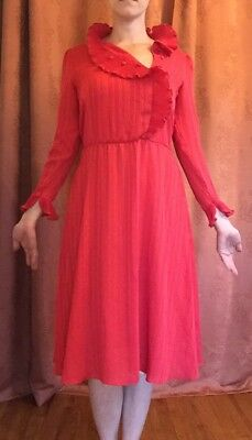 Vintage 1970S Red Striped Dress Women's Size Small Ruffles