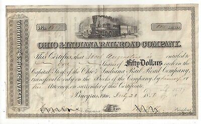 Stk-Ohio & Indiana RR 1856 Bucyius, OH two vigs