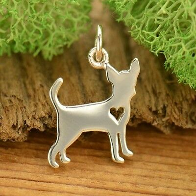 Chihuahua Dog Charm Heart Vet Groomer Gift Pendant 925 Sterling Silver 1695