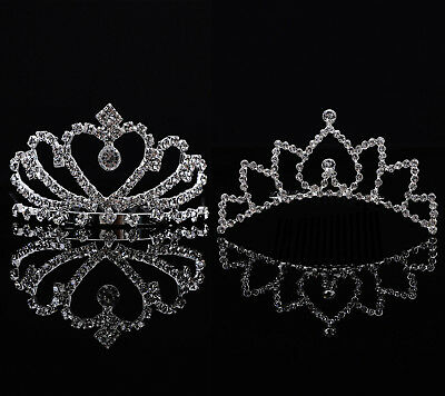 Girls Kids Heart Sparkling Rhinestone Children Prom Tiara Crown Headband