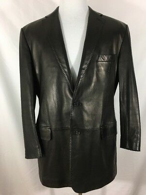 Ralph Lauren Purple Label Black Lambskin Leather Blazer Jacket Size 46 R Italy