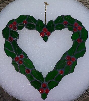 VINTAGE STAINED GLASS HOLLY andBERRIES HANGINGSUN CATCHER WREATH