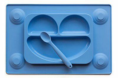 EasyMat  Kids Placemat   Divided Suction Plate In One with Spoon. No Mess Toddle