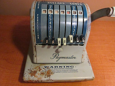 Paymaster Check Writer Imprinter Series S 1000 With Key Dollars Cents Vintage