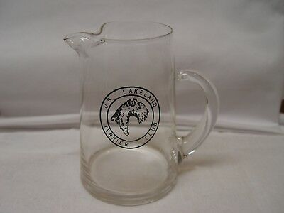 Vintage U.S. Lakeland Terrier Dog Club Glass Water Pitcher With Applied Handle