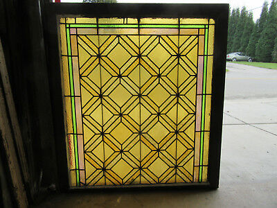 ~ ANTIQUE AMERICAN STAINED GLASS WINDOW ~ 39 x 43 ~ ARCHITECTURAL SALVAGE