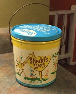 Vintage Shedd's Peanut Butter Tin Can 5 Lb Collectible Bucket Pail With Handle
