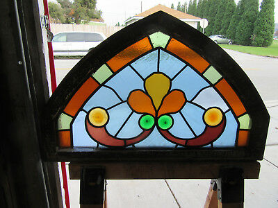 Antique Gothic Stained Glass Transom Window 34 X 22 ~ Architectural Salvage ~