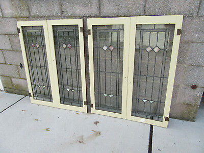 4 ANTIQUE STAINED GLASS CABINET DOORS WINDOWS ~ 33 x 41 EACH SET ~ SALVAGE ~