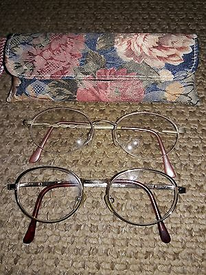 lot of three old prescription glasses and two cases