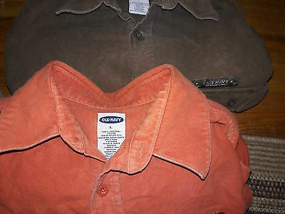 Lot of TWO mens OLD NAVY size LARGE, 100% cotton long sleeved buttom fronts