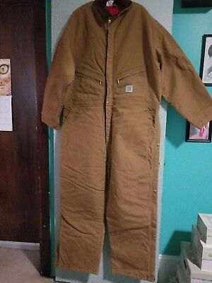 NEW Mens Carhartt Size 52 Short Work Insulated Cotton Duck Coveralls Jumpsuit