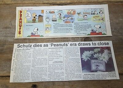Charles Schultz Last Peanuts Cartoon Newspaper Clip Collectibles - 2 Items