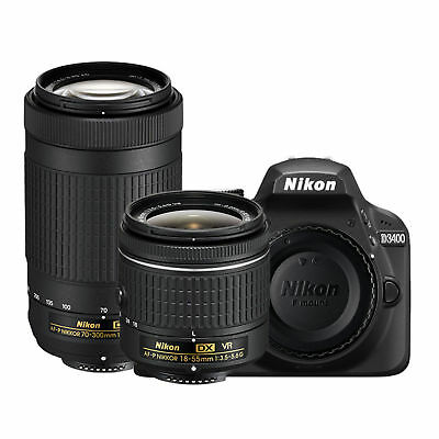 Nikon D3400 DSLR Camera 24.2MP With 18-55mm and 70-300mm Lenses