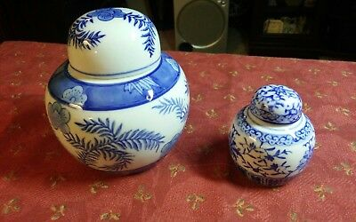 """2 Beautiful Blue & White Ginger Jars 4 1/2"""" and 2 3/4"""" vintage Asian japan"""
