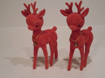 VINTAGE Set of 2 RED FLOCKED STANDING DEERS w/ GOLD METAL CHAINS & BELL Made HK