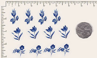 "12 x Waterslide ceramic decals Flowers Floral Blue. 3 different 3/4"" - 1""  PD05"