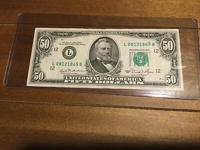 1981 $50.00 Error Note , Rare Type Set  US Currency w/ free shipping