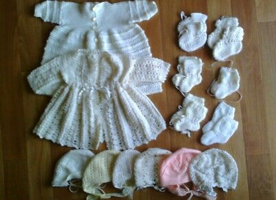 Vintage Knitted Handmade Baby Bulk Clothing Booties and Bonnets 15 Items