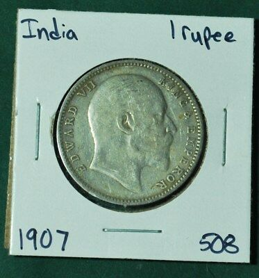 India British One 1 Rupee Silver 1907 King Edward VII Nice Coin