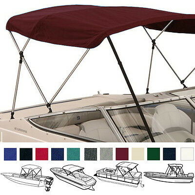 "Bimini Top Boat Cover Burgundy 3 Bow 72""l 36""h 91""-96""w - W/ Boot & Rear Poles"