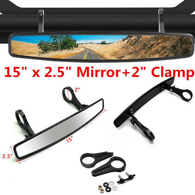 """For Can-Am Maverick Polaris UTV 15"""" Wide Rear View Race Mirror with 2"""" Clamp zn"""