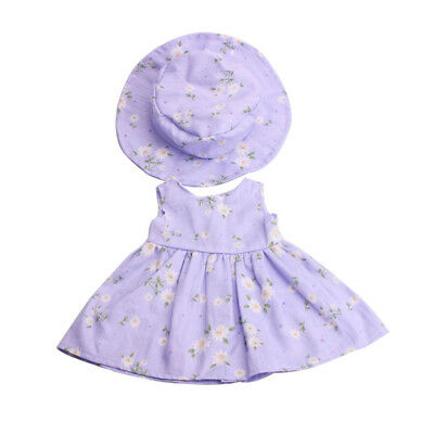 """Cute Floral Dress Hat Suit Beach Outfit for 18"""" American Girl Journey Dolls"""