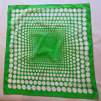 BEAUTIFUL VINTAGE RETRO GREEN SPOTTED SCARF 62cm x 62cm