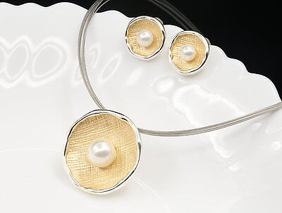 Quality white pearl beads gold enamel pendant silver plate necklace earrings N77