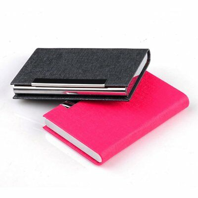 Business ID Credit Card Holder Stainless Steel & PU Leather Thin Card Case W0