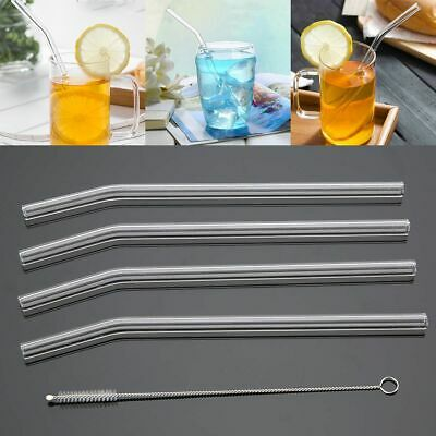 4Pcs Bent Glass Tube Drinking Straw Sucker With 1pcs Cleaning Brush New